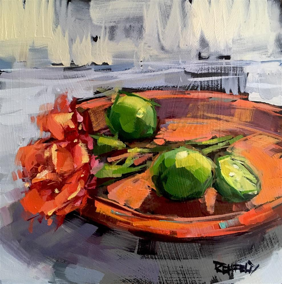 """""""Limes And Roses"""" original fine art by Cathleen Rehfeld"""
