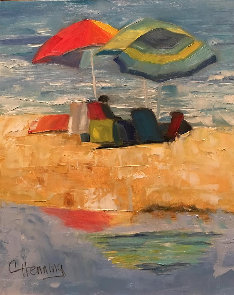 """Umbrella Reflections"" original fine art by Claire Henning"