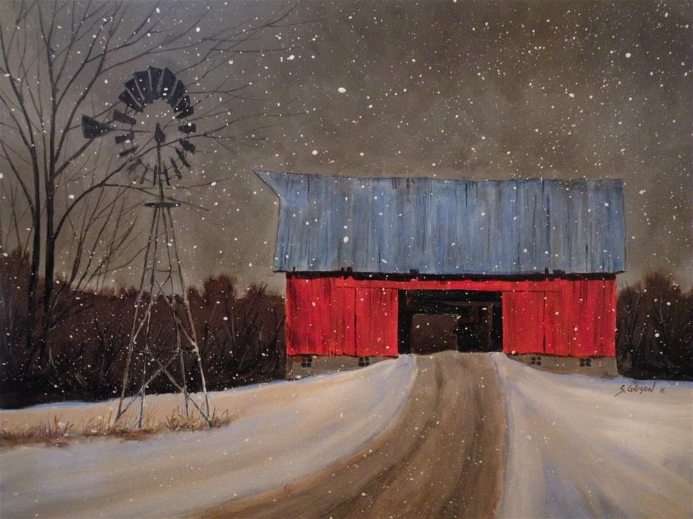 """""""Ralph Quinn's Red Barn"""" original fine art by Steve Gibson"""