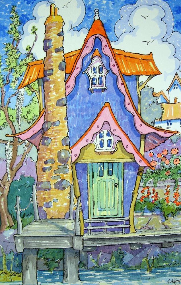 """Bayou Bungalow Storybook Cottage Series"" original fine art by Alida Akers"