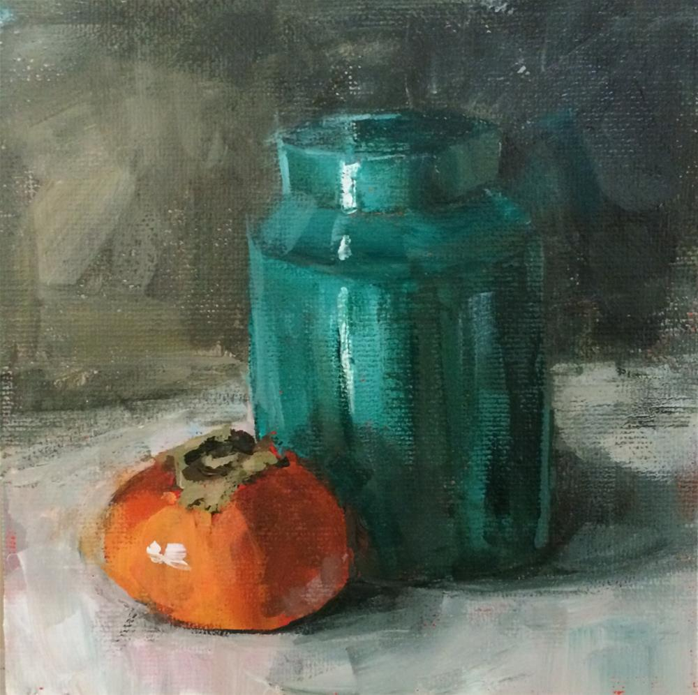 """Persimmon and Green Jar"" original fine art by Shannon Bauer"