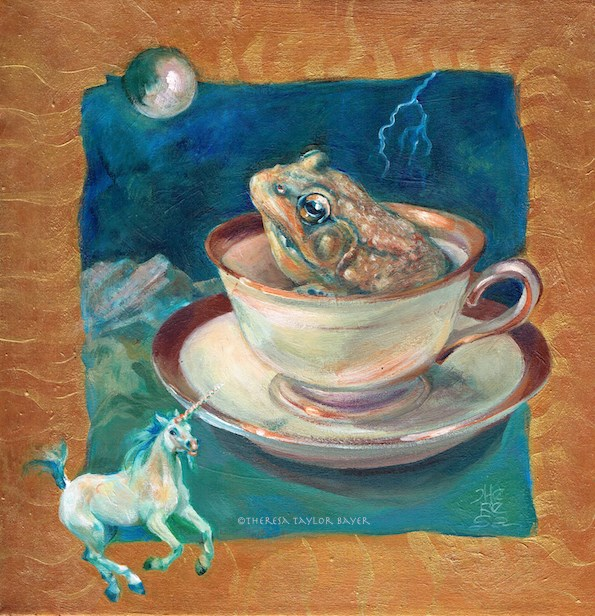 """""""Frog in a Teacup"""" original fine art by Theresa Taylor Bayer"""