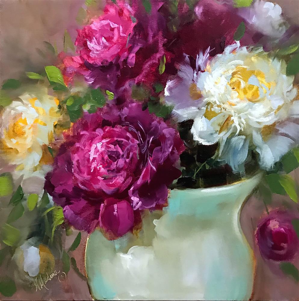 """Ruby and White Peonies"" original fine art by Nancy Medina"