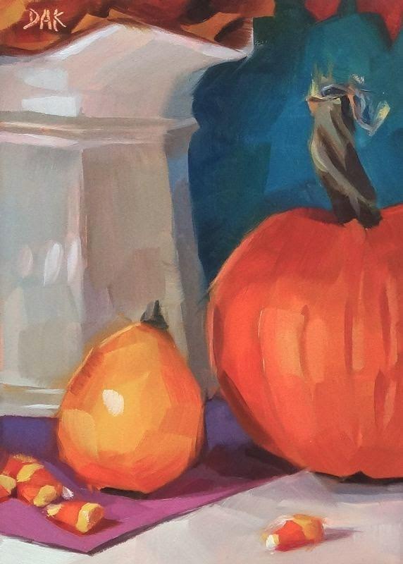 """""""Pumpkin Pretense"""" original fine art by Deborah Ann Kirkeeide"""