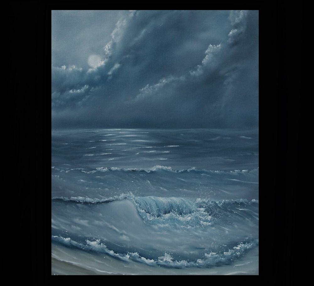 """""""Moonlite Surf"""" original fine art by Ken Fraser"""