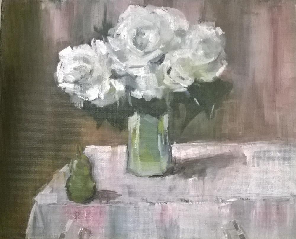 """""""#4 oil  White Roses"""" original fine art by Crisynda Buss"""