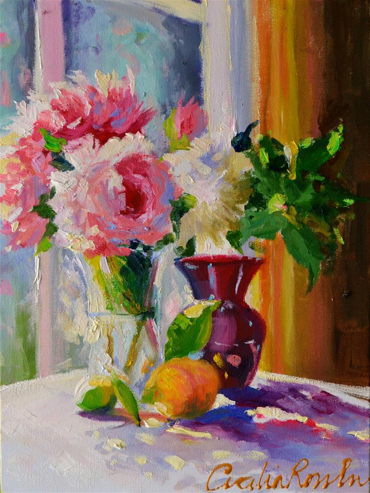 """""""PEONIES AND ROSES"""" original fine art by Cecilia Rosslee"""