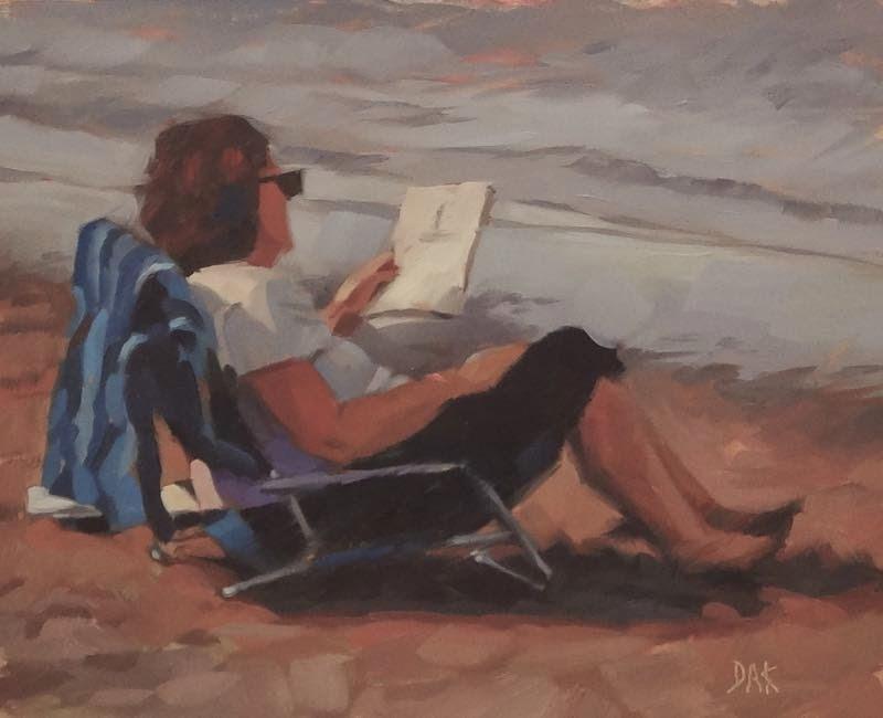 """""""Lakeside Read"""" original fine art by Deborah Ann Kirkeeide"""