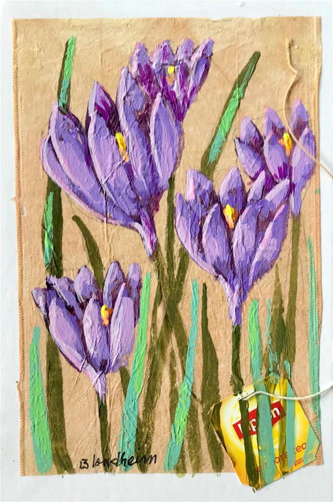 """Tea Bag Painting Crocus"" original fine art by Linda Blondheim"