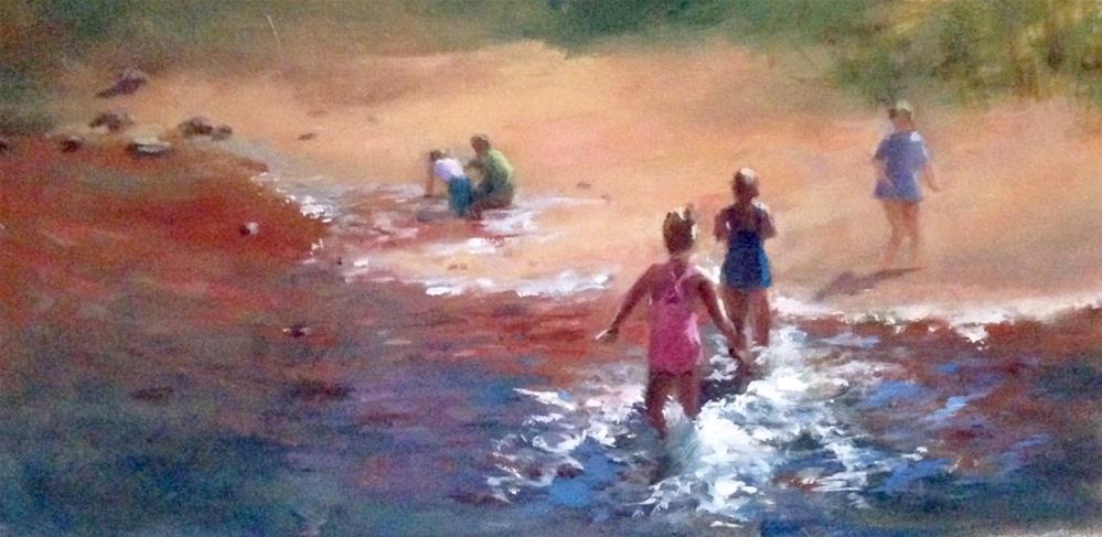 """Splashing in Sedona's Oak Creek Canyon"" original fine art by Linda Carney"