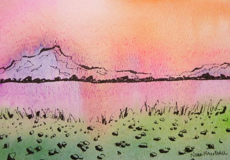 """sun mountain"" original fine art by Nora MacPhail"