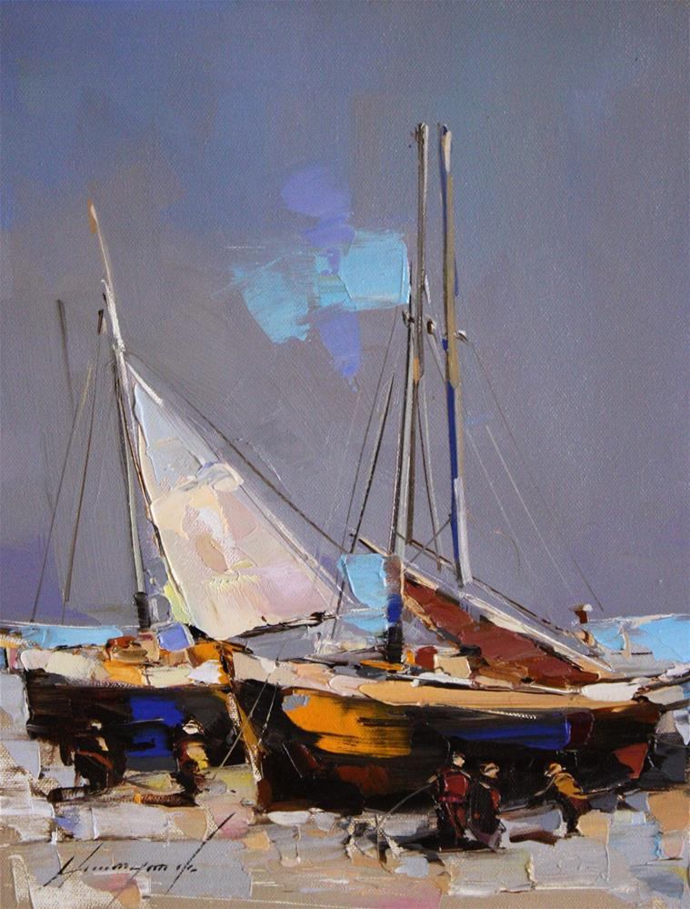 """FISHING BOATS ORIGINAL OIL PAINTING IMPRESSIONISM PALETTE KNIFE"" original fine art by V Y"