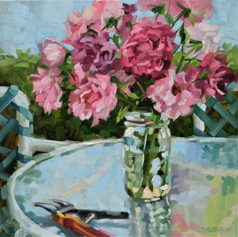 """Patio Roses"" original fine art by Karen Werner"