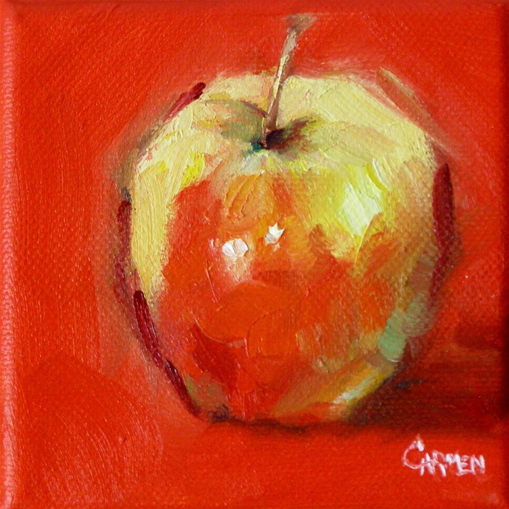 """Just a Little Apple, 4x4 Oil on Canvas"" original fine art by Carmen Beecher"