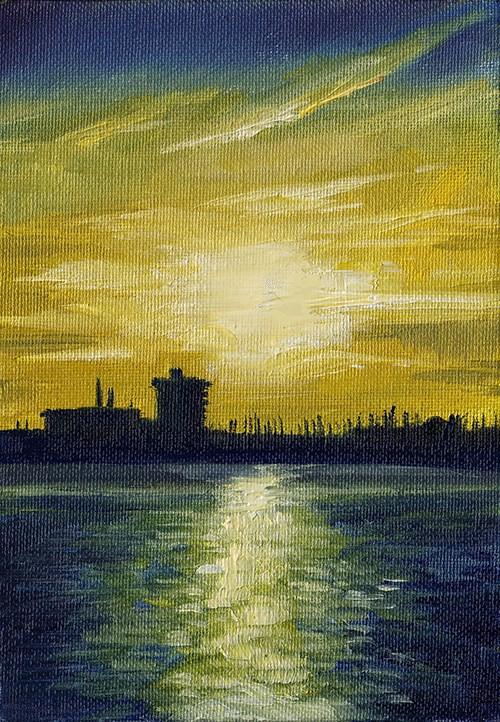 """Portsmouth Sunset"" original fine art by J M Needham"