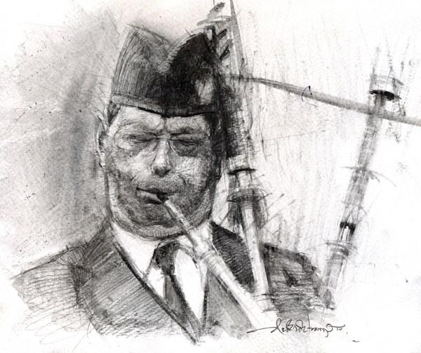 """The Piper"" original fine art by Adebanji Alade"