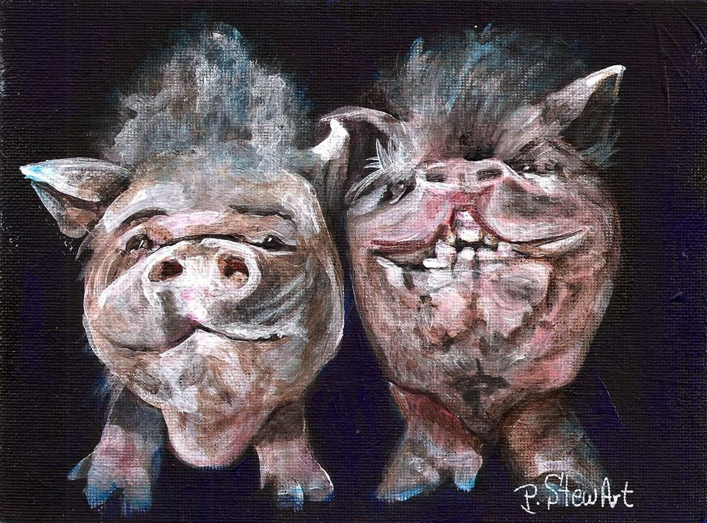 """5x7 Dapple and Sarah Two Whimsical Pigs from Ironwood Pig Sanctuary"" original fine art by Penny Lee StewArt"