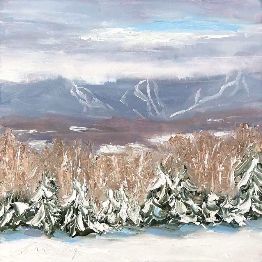 """#256-Blue Sky-Mt Mansfield - Stowe, VT"" original fine art by Sara Gray"