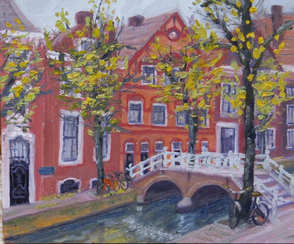 """Bridge Across Koornmarkt"" original fine art by Richard Kiehn"