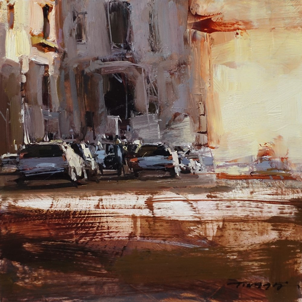 """The Falling Sun"" original fine art by Tibor Nagy"