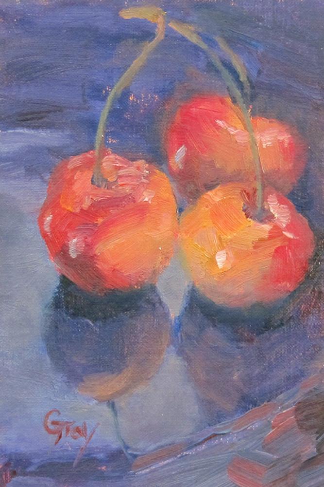 """""""Three Rainier Cherries"""" original fine art by Naomi Gray"""