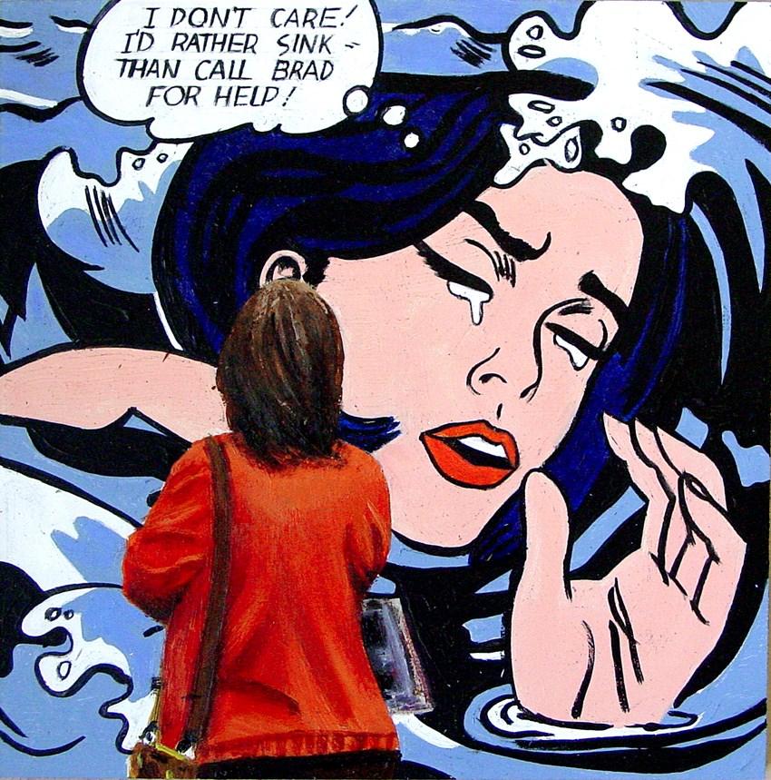 """Call Brad- Painting Of Man Enjoying Painting By Roy Lichtenstein"" original fine art by Gerard Boersma"
