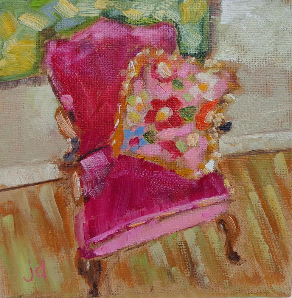 """""""The pink chair"""" original fine art by Jean Delaney"""