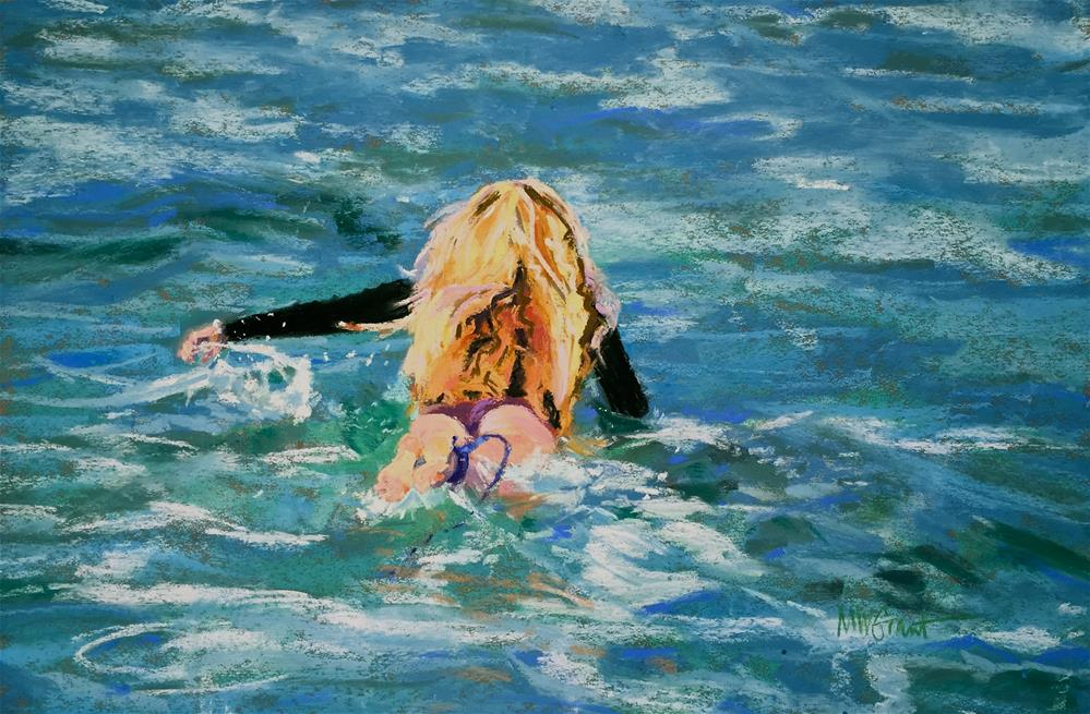 """""""First Paddle Out"""" original fine art by Michelle Wells Grant"""