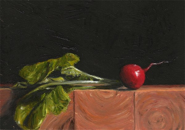 """Radish on the edge"" original fine art by Peter J Sandford"
