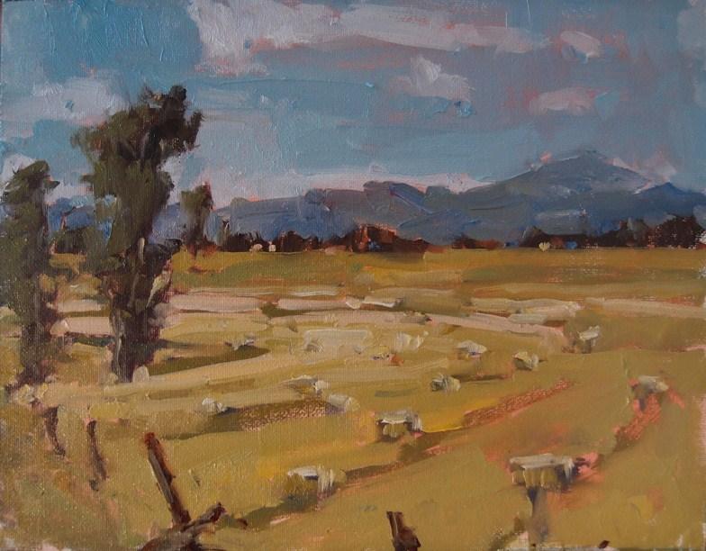 """""""Hay Bales in Line"""" original fine art by Julie Davis"""