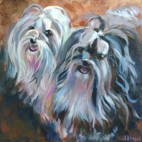 """Dos Havanese"" original fine art by Mary Pargas"