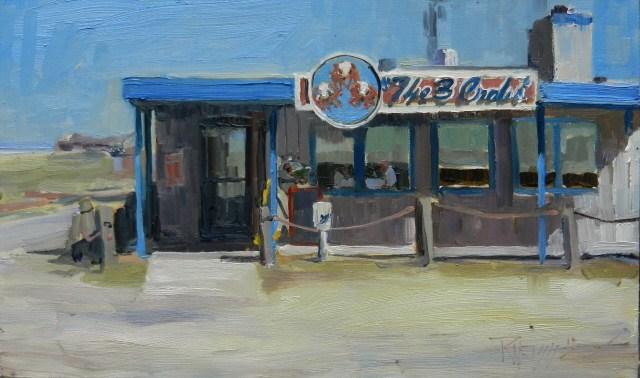 """Three Crabs Restaurant  plein air oil painting by Robin Weiss"" original fine art by Robin Weiss"