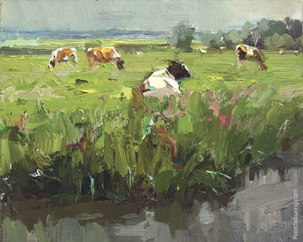 """""""Painting Cows in Meadow"""" original fine art by Roos Schuring"""
