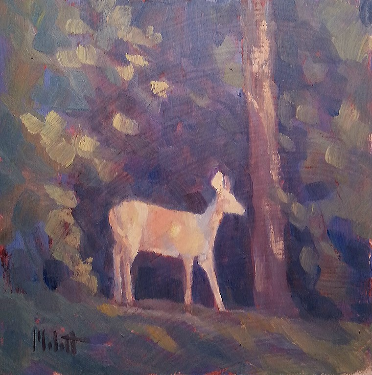 """Deer Painting Stepping out of the Shadows Original Oil"" original fine art by Heidi Malott"