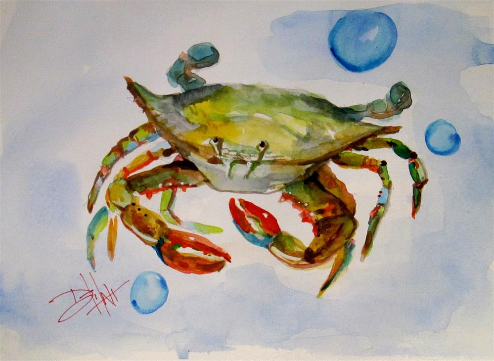 """""""Crab and Bubbles"""" original fine art by Delilah Smith"""