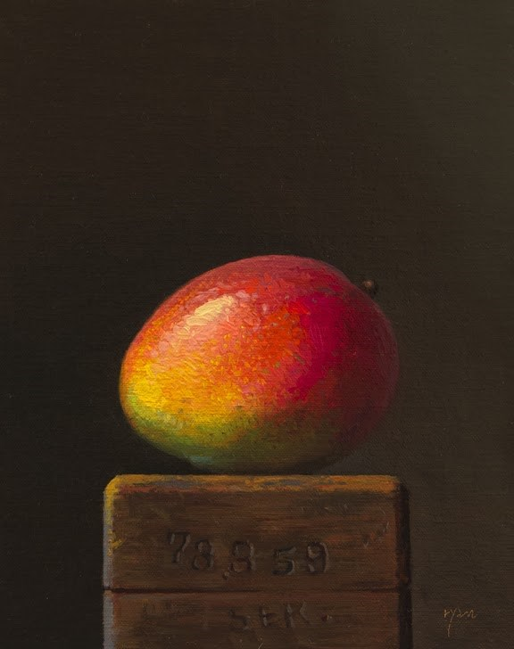 """Mango on a Wood Block"" original fine art by Abbey Ryan"