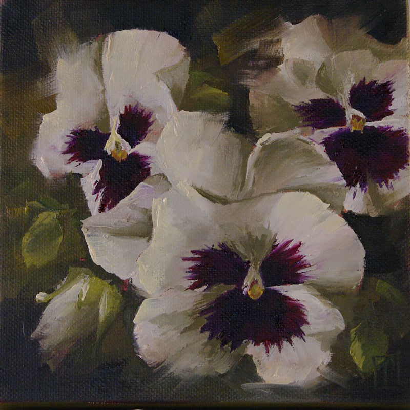 """White Pansy Study 1"" original fine art by Lori Twiggs"