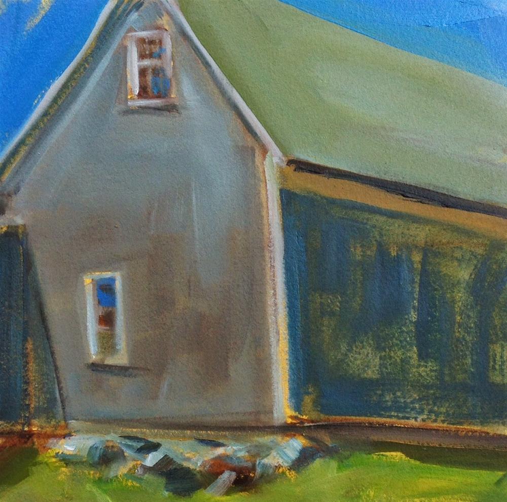 """Old Barn, 8x8 Inch Oil Painting on Paper by Kelley MacDonald"" original fine art by Kelley MacDonald"