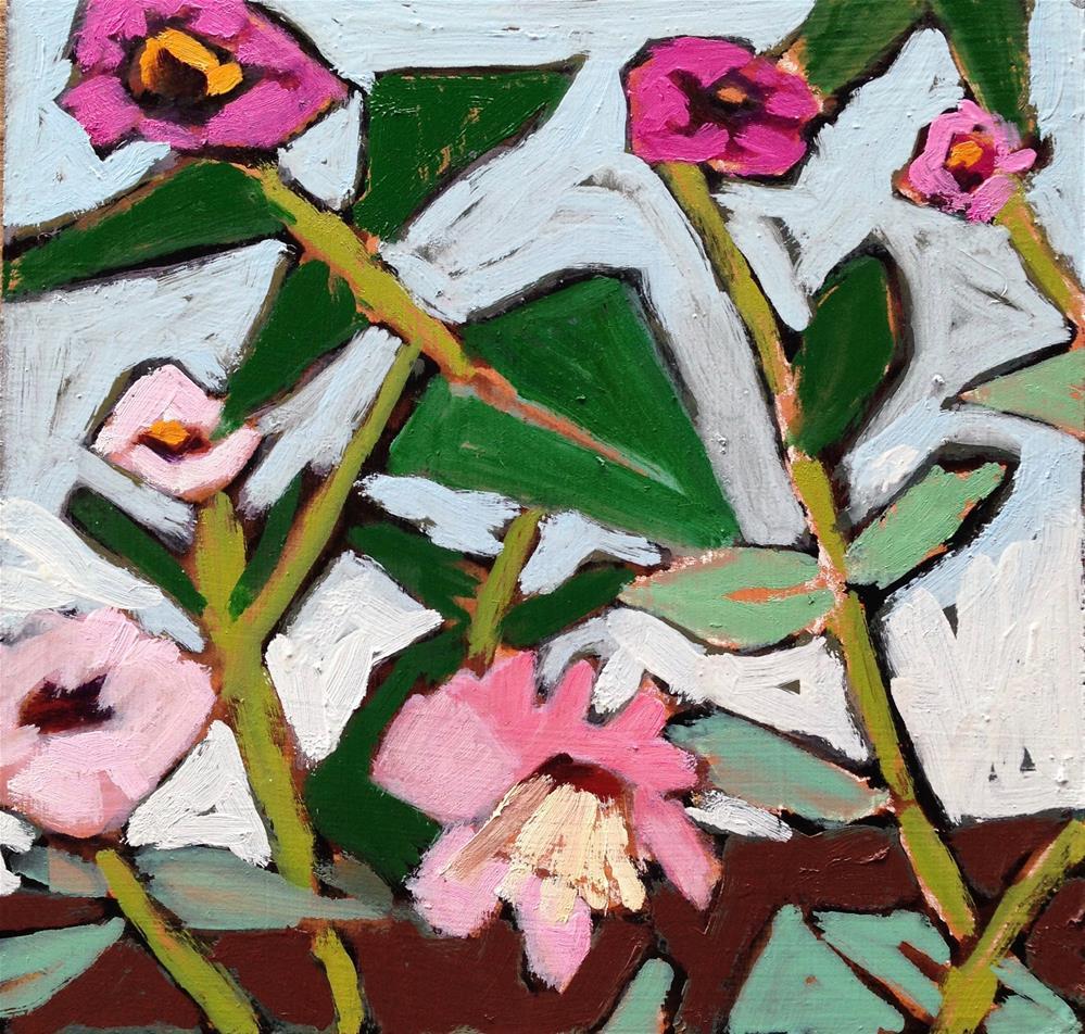 """Liz's Zinnia Patch II"" original fine art by Pamela Hoffmeister"