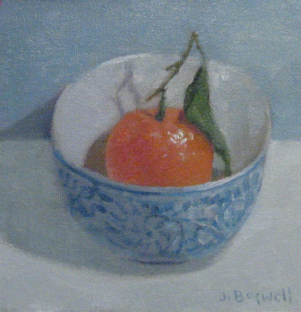 """""""Clementine in Blue and White Bowl"""" original fine art by Jennifer Boswell"""