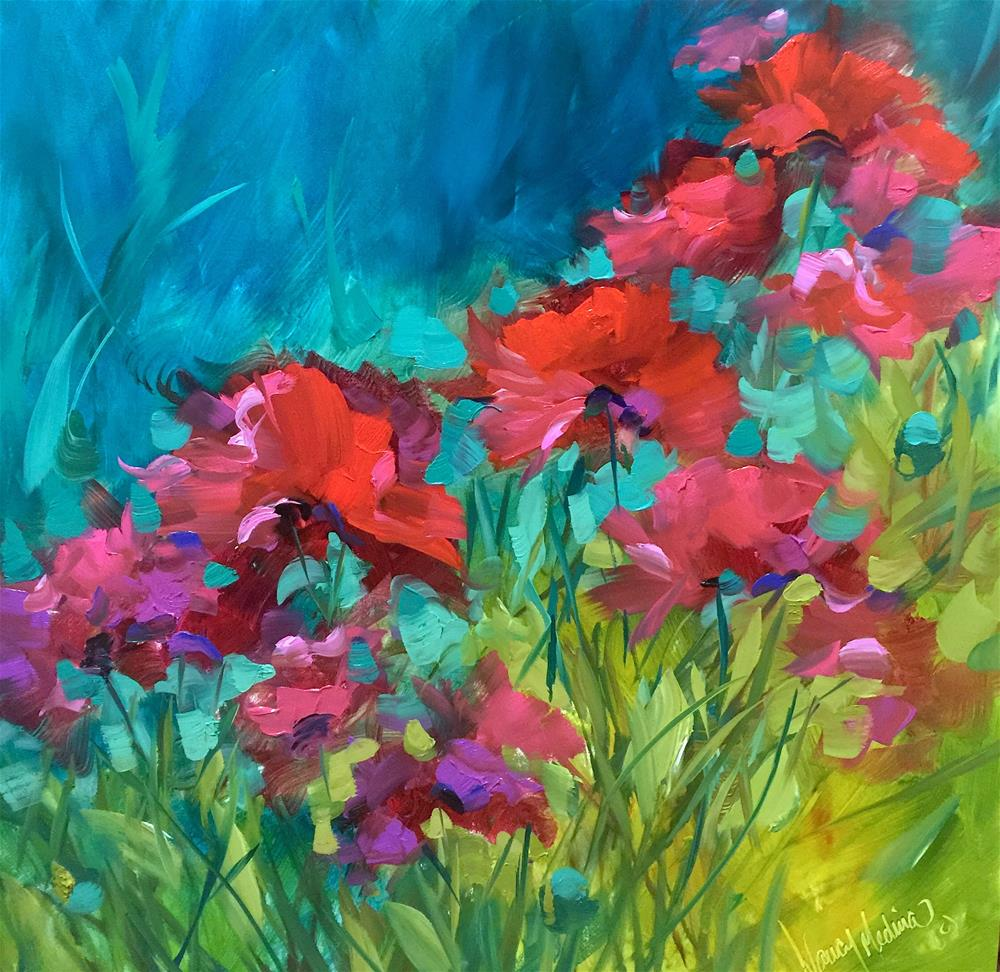 """""""Poppy Chorus and How to Give Your Flowers Color Power"""" original fine art by Nancy Medina"""