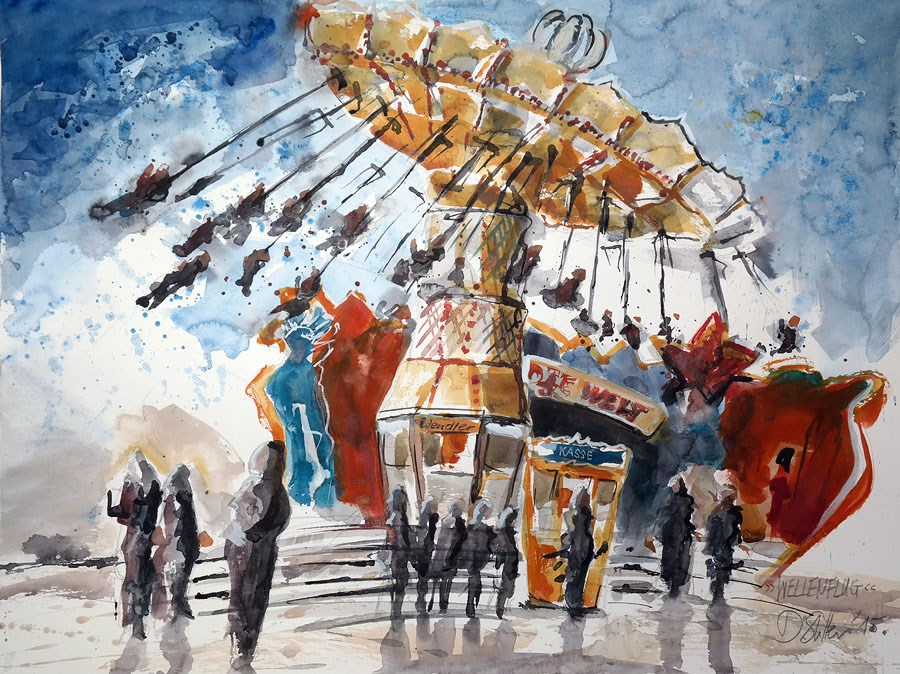 """1345 Fairground Attractions"" original fine art by Dietmar Stiller"