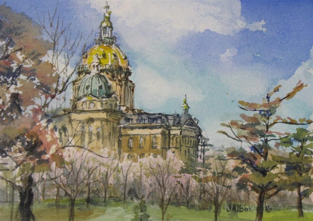 """The Iowa State Capital"" original fine art by Jane Albin"