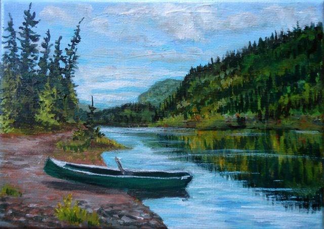 """Hoss's Boat on Fisheye Lake"" original fine art by Jackie Irvine"