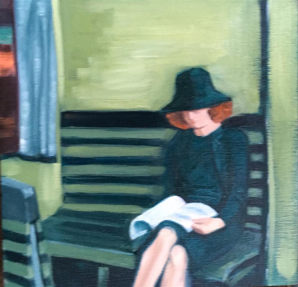 """Words in Transit: Homage to Hopper"" original fine art by Bev Thibault"