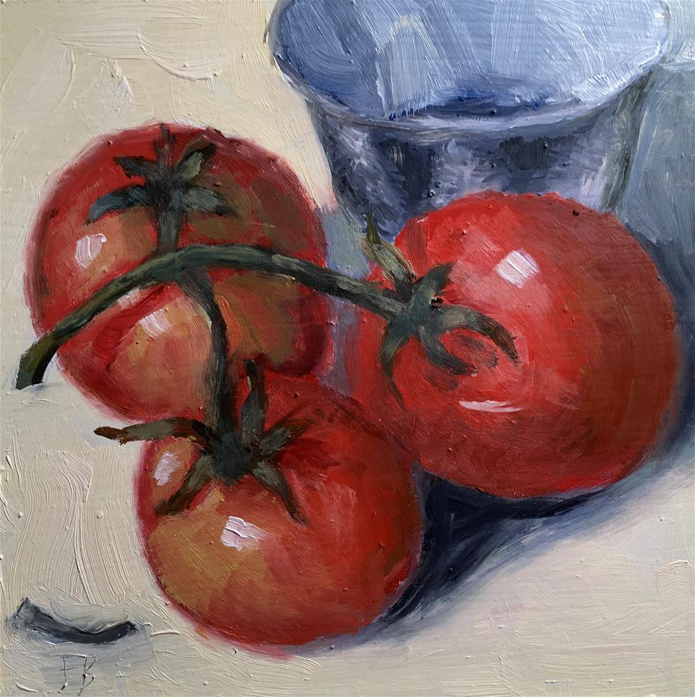 """""""074 Three Tomatoes"""" original fine art by Fred Bell"""