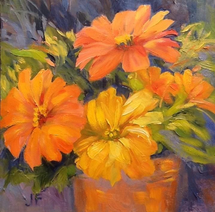 """""""Summer Zinnias"""" original fine art by Jean Fitzgerald"""