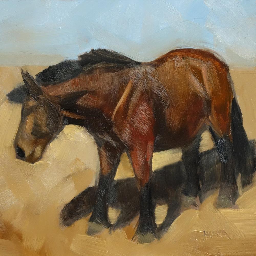 """""""Study of a Brown Horse in Strong Sunlight"""" original fine art by Elaine Juska Joseph"""