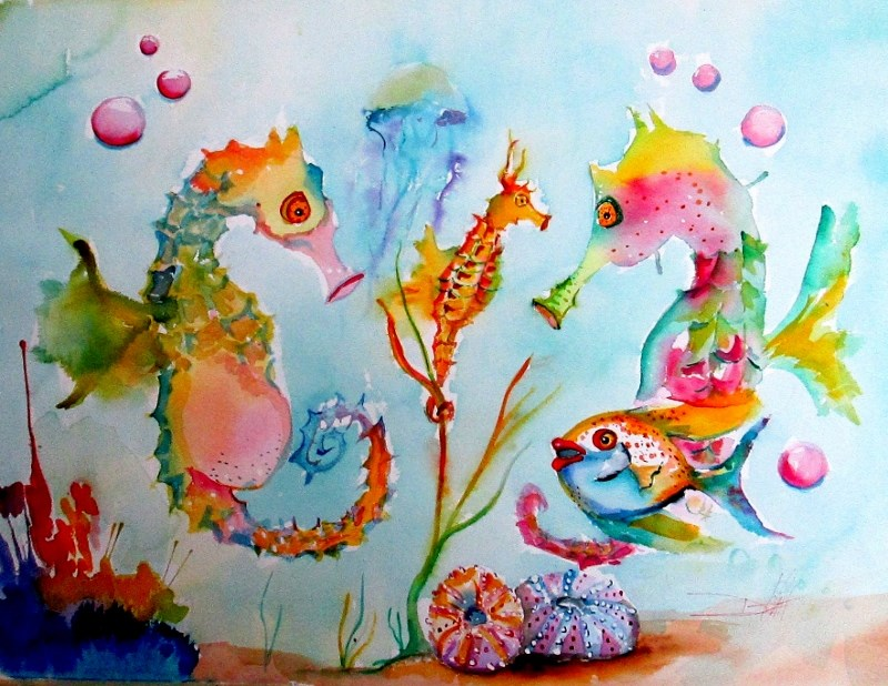 """Rainbow Seahorses"" original fine art by Delilah Smith"
