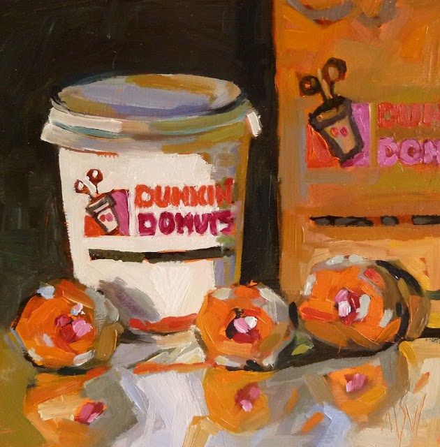 """Dunkin' Munchkins      SOLD"" original fine art by Mary Sheehan Winn"